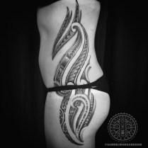 Mixed Polynesian woman's tattoo