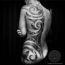 Freehand Mixed Polynesian woman's tattoo