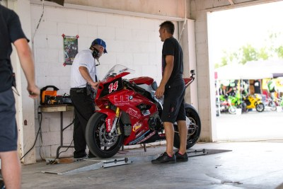 The BMW S1000RR at the technical inspection