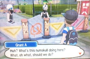 As you reach Po Town, you will automatically move towards a barricade. As you reach the blockage, Team Skull will tell you to leave.