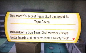 "One of the secret passwords is Tapu Cocoa, the Boss' favorite drink. Note that the following message is a clue that you must ""answer"" when asked by the Team Skull Grunt guarding the second floor."