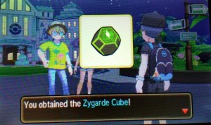 Dexio gives you the Zygarde Cube for winning against Sina.