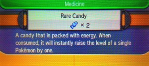 Rare candy lets you level up your Pokemon easily