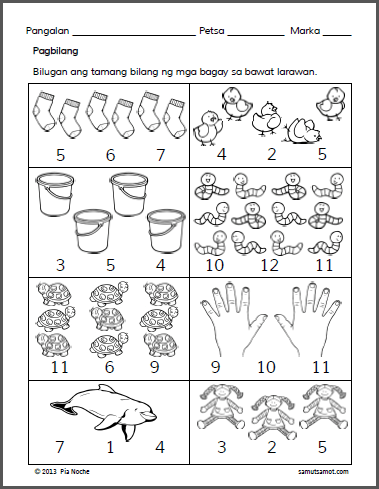 Assorted Preschool Filipino Worksheets - Samut-samot