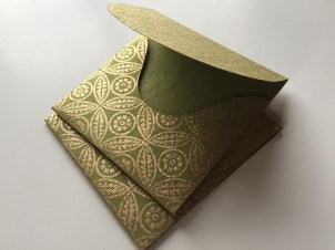 Mini Sqaure RSVP envelopes made from printed handmade paper