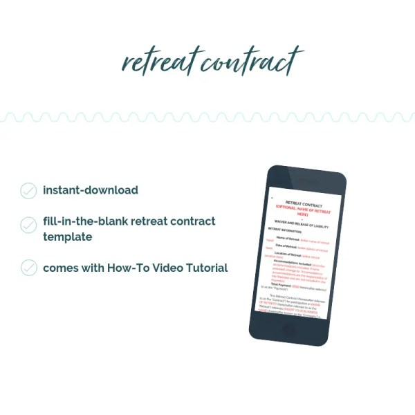 retreat contract template. retreat contract. retreat waiver. sam vander wielen. diy legal templates.