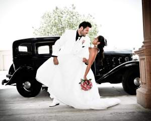 Wedding day photo with old car