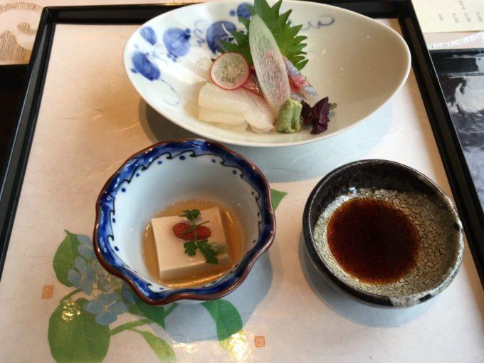 東急ハーベスト旧軽井沢レストランAvantのお造りと胡麻豆腐