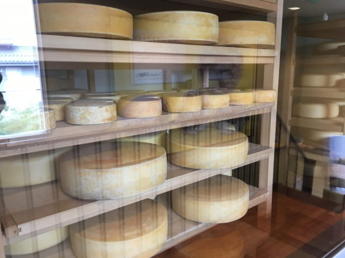 軽井沢チーズ熟成所アトリエフロマージュ軽井沢2階熟成工房で熟成されているチーズ