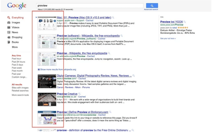 Google検索結果でプレビュー画面を表示できる拡張機能「SearchPreview」