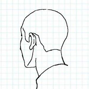 斜め後ろ向きの頭部をそれらしく描くための簡単方法と描き方 ライン