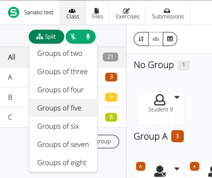 Picture showing how to split students into groups automatically