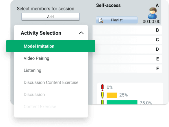 Portion of the Interface for Sanako Study showing the activity selection dropdown and its surroundings