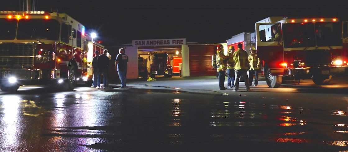 Firefighters train on a Tuesday night outside Station 2.