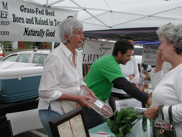 Rancher Linda Perez at the Pearl Farmer's Market before she sold the herd.