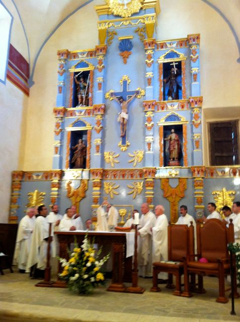 Archbishop Gustavo García-Siller and other clergy celebrate Mass at a newly-reconsecrated Mission San José in 2011.