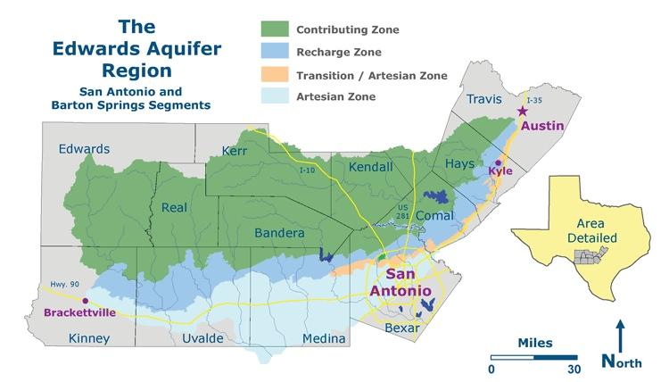 Edwards Aquifer Region, map by Braun&Gresham