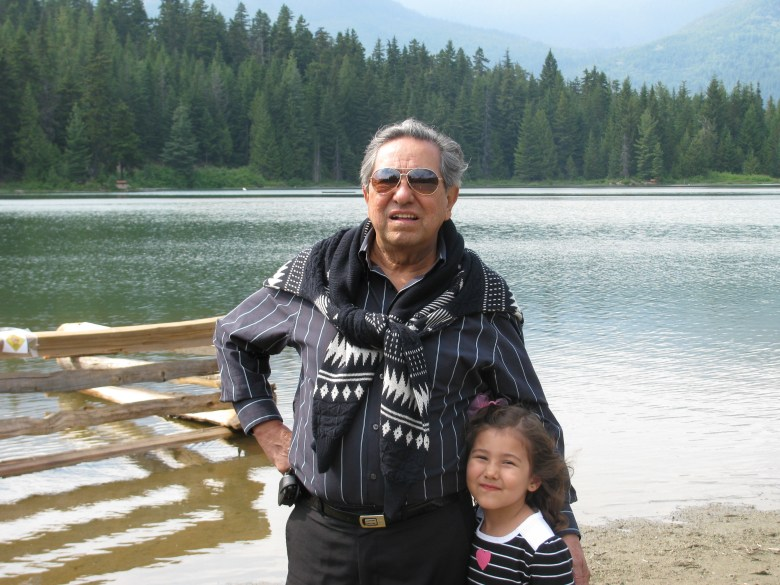 Martin's father Gustavo and his granddaughter.