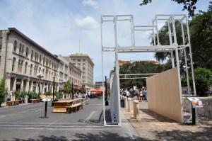 The main gate to Alamo Plaza