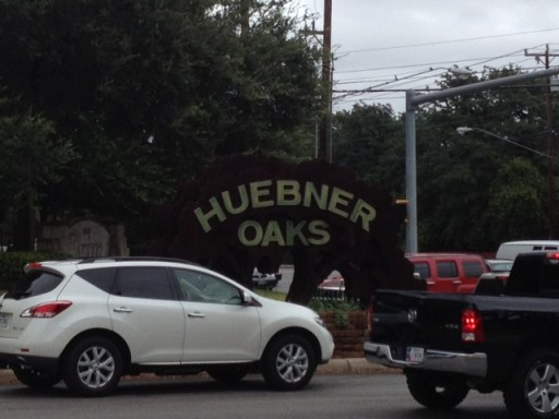 The none-pedestrian friendly intersection at Huebner Oaks.