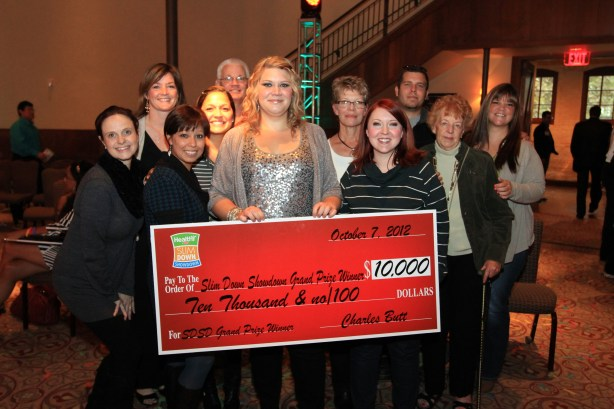 Alison Spangler emotionally receives her winnings at last year's contest finale in October. Photo by Shane Kyle.