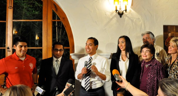 Diego Bernal, Julian Castro and Erica Castro on election night