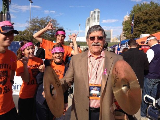 President Ricardo Romo stands in as a cymbalist with UTSA's Spirit of San Antonio Marching Band. Photo by Robert Rivard.