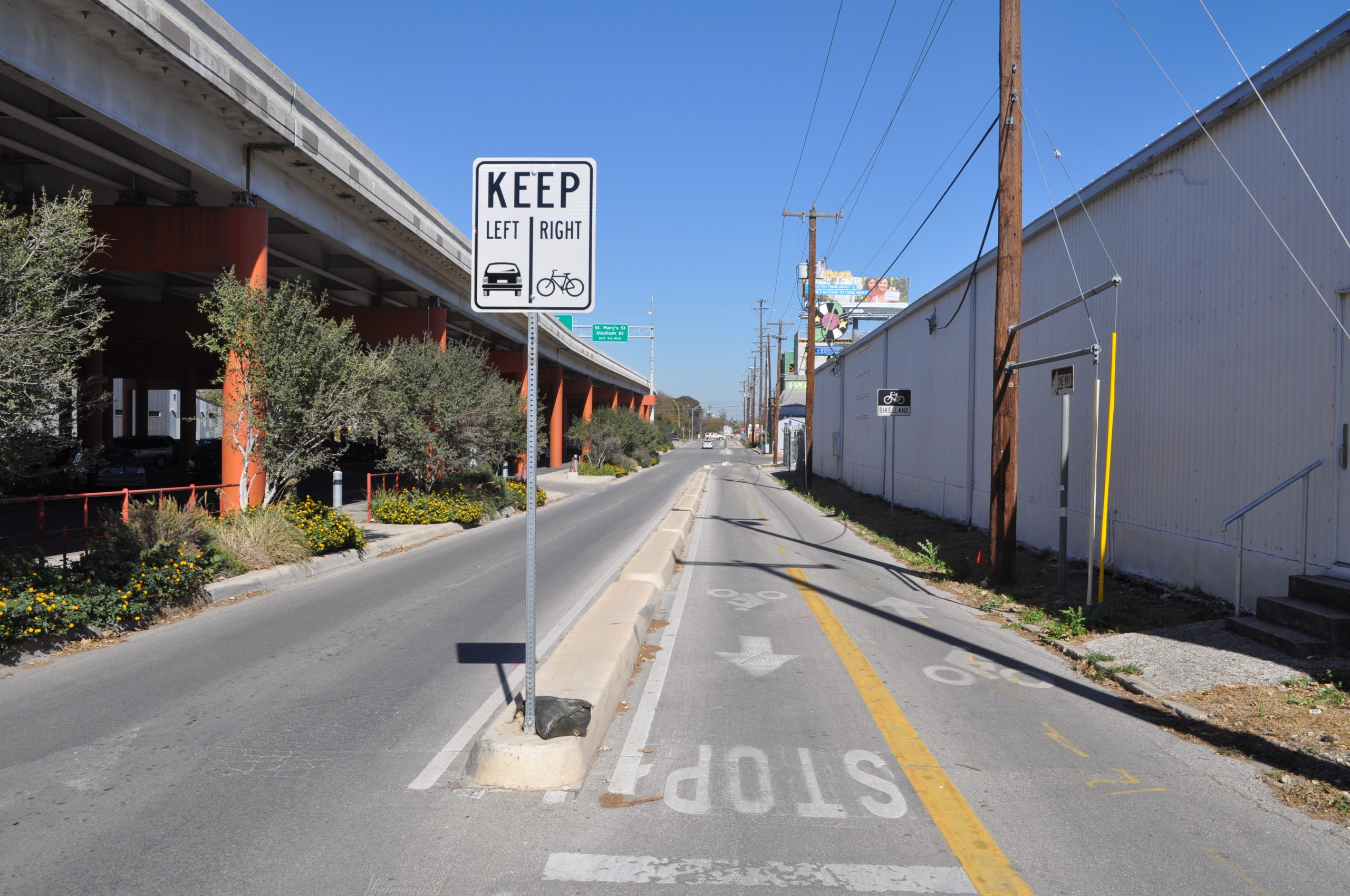 Separated bike lane on Avenue B near the Pearl.