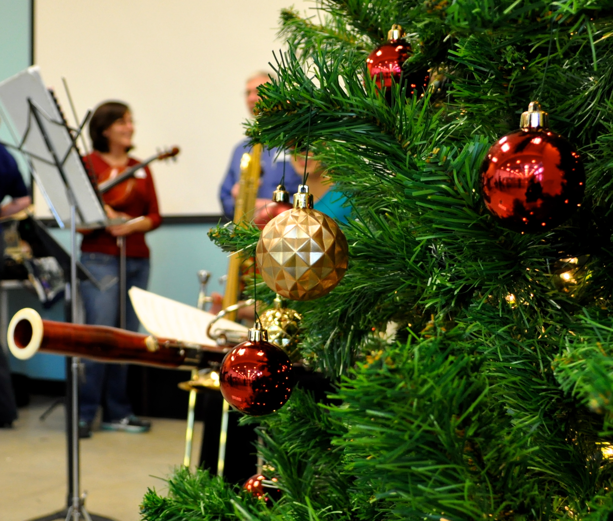 Musicians prepare for their holiday performance at Haven for Hope in December 2012. Photo by Iris Dimmick.