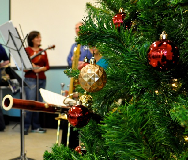 San Antonio Symphony musicians prepare for their holiday performance at Haven for Hope in December 2012. Photo by Iris Dimmick.