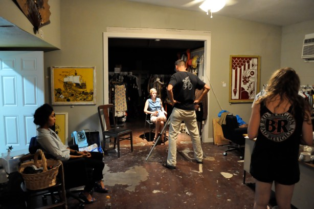 Michael Berrier interviews while Melody Cuellar and Rachel Ann Dealy wait. Photo by Jacob Coltrane Burris.