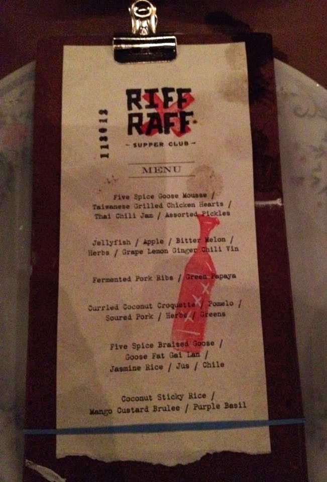 Riff Raff Supper Club Inaugural Menu