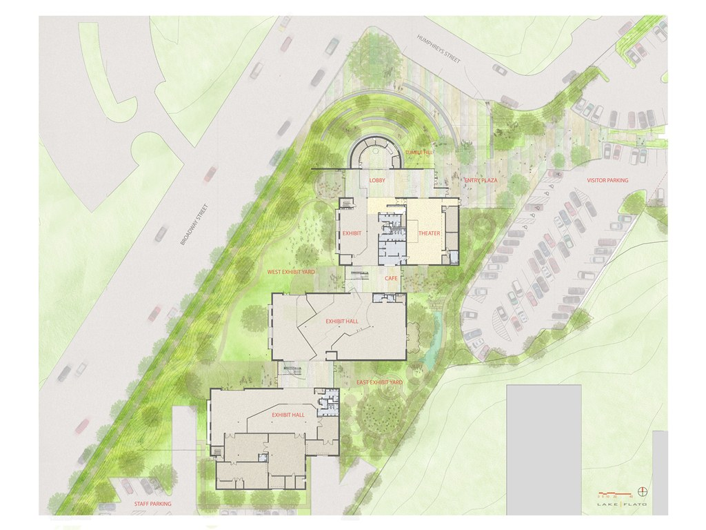 An aerial view of the site plan for the San Antonio Children's Museum by Lake   Flato architects.