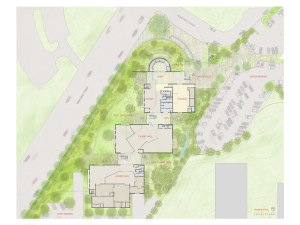An aerial view of the site plan for the San Antonio Children's Museum by Lake/Flato Architects.