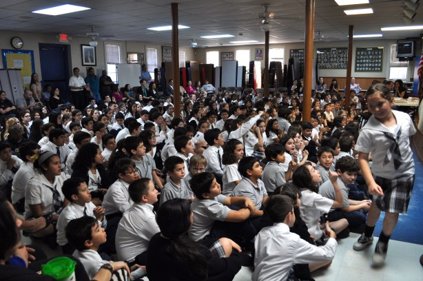 Students at St. Anthony's attend a spelling in the afternoon. Photo by Iris Dimmick.