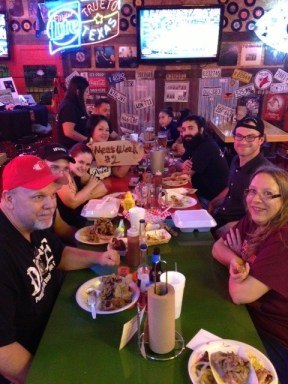 The Meat Week gang enjoying good company and good BBQ. Photo by Megan O'Kain Lotay.