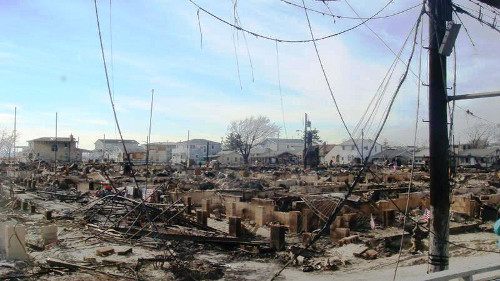 The destruction from flooding and fires in Breezy Point, N.Y. Photo by Steve Brown.