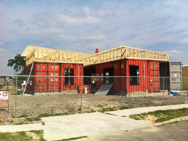 UTSA Architecture recycled shipping container home. Part of the Three+1 project.