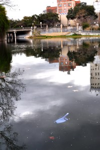 I don't know what that is exactly, but it's trash and it's floating in the San Antonio River. Photo by Iris Dimmick.