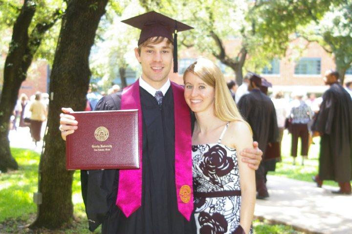 John and his wife, Niki, at John's graduation ceremony at Trinity University.