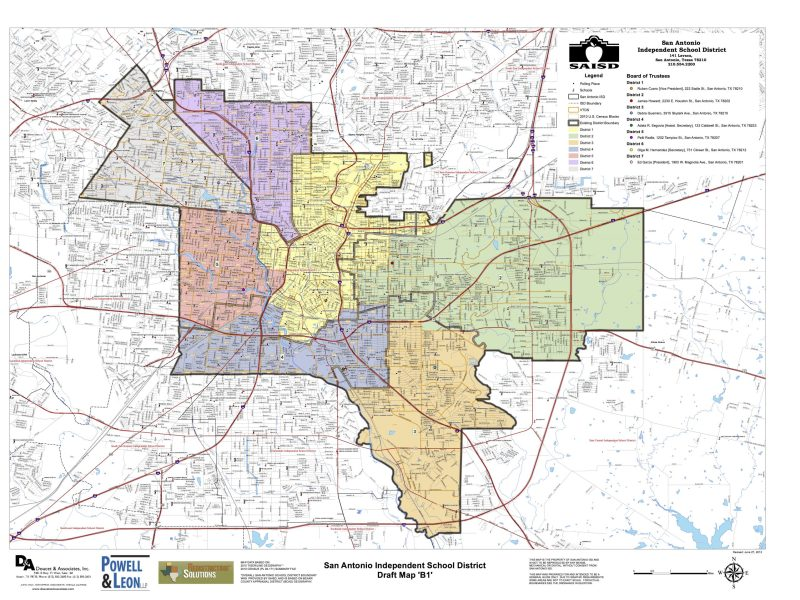 SAISD District Map (draft). Click for larger image.
