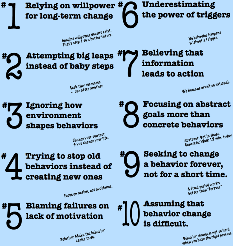 Stanford University Persuasive Technology Lab's Top 10 Mistakes in Behavior Change. Click for larger image.