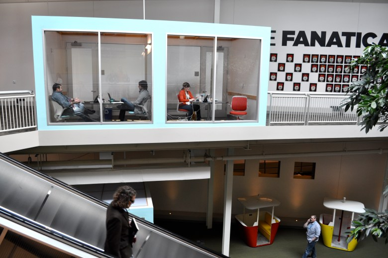 Rackspace occupies what was once Windsor Park Mall. The company has transformed the dead mall into a playful, modern workplace that includes sectioned off conference rooms, escalators, and is home to the old gondolas from Brackenridge Park.