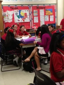 Students working hard at Young Women's Leadership Academy