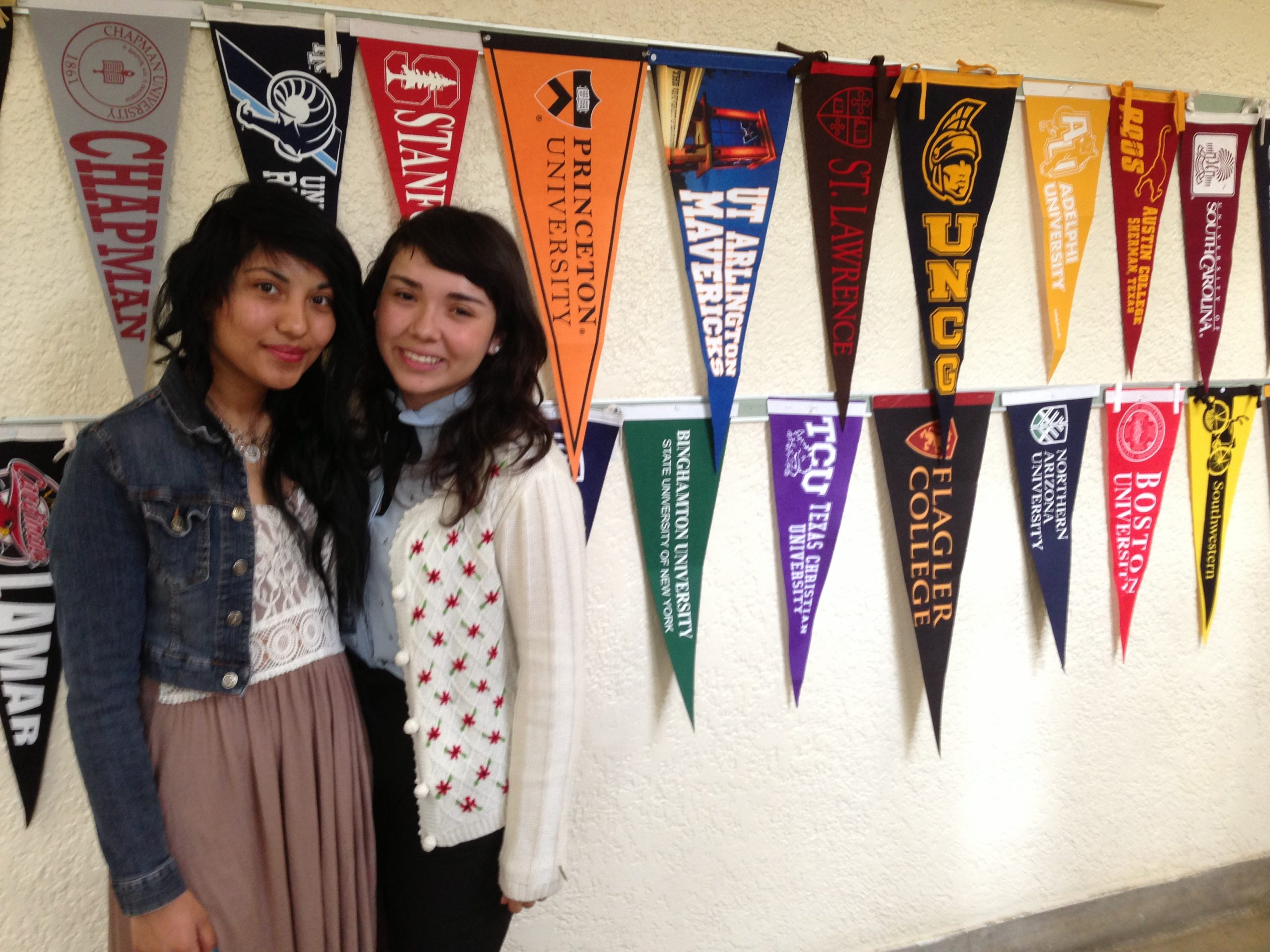 Maritza Alvarez and Nancy Vargas are college bound and loving it at Travis Early College High School. Photo by Bekah McNeel.