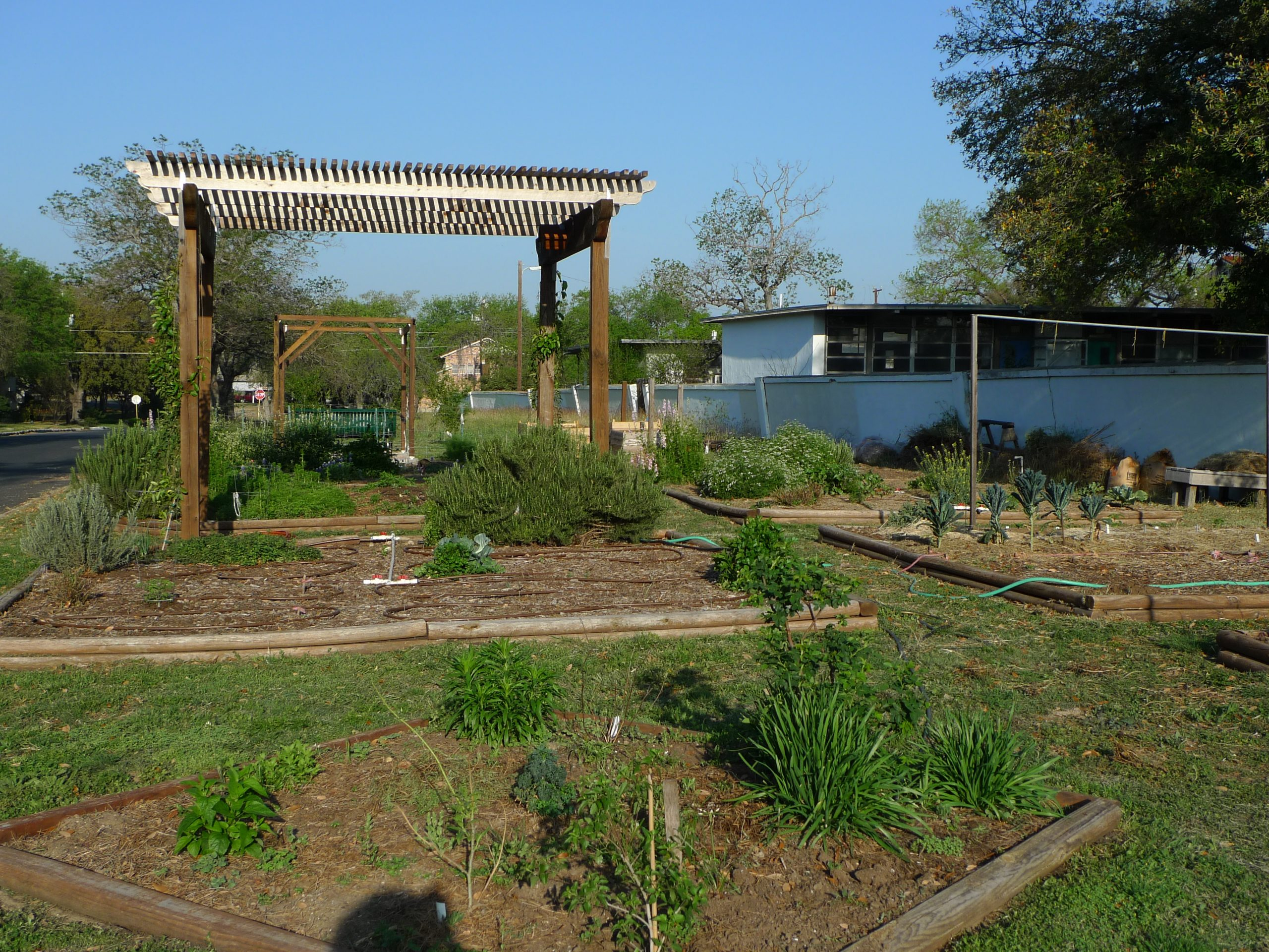 The Jefferson community garden near Jefferson United Methodist Church at 2350 W. Gramercy Place. The garden space includes two park benches, two pagodas, and 4 compost bins.