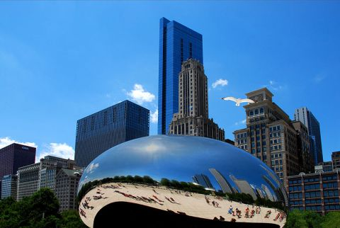 "Indian-born British artist Anish Kapoor's ""Cloud Gate"" sculpture in Millenium Park, Chicago. Wikimedia Commons photo."