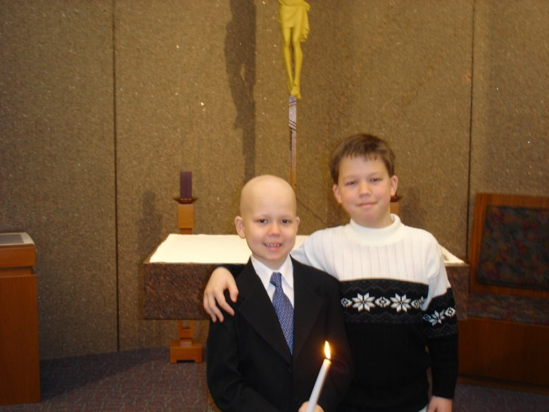 Daniel Edelen and his brother, Christopher, at Daniel's First Communion. Courtesy of the Edelen Family.