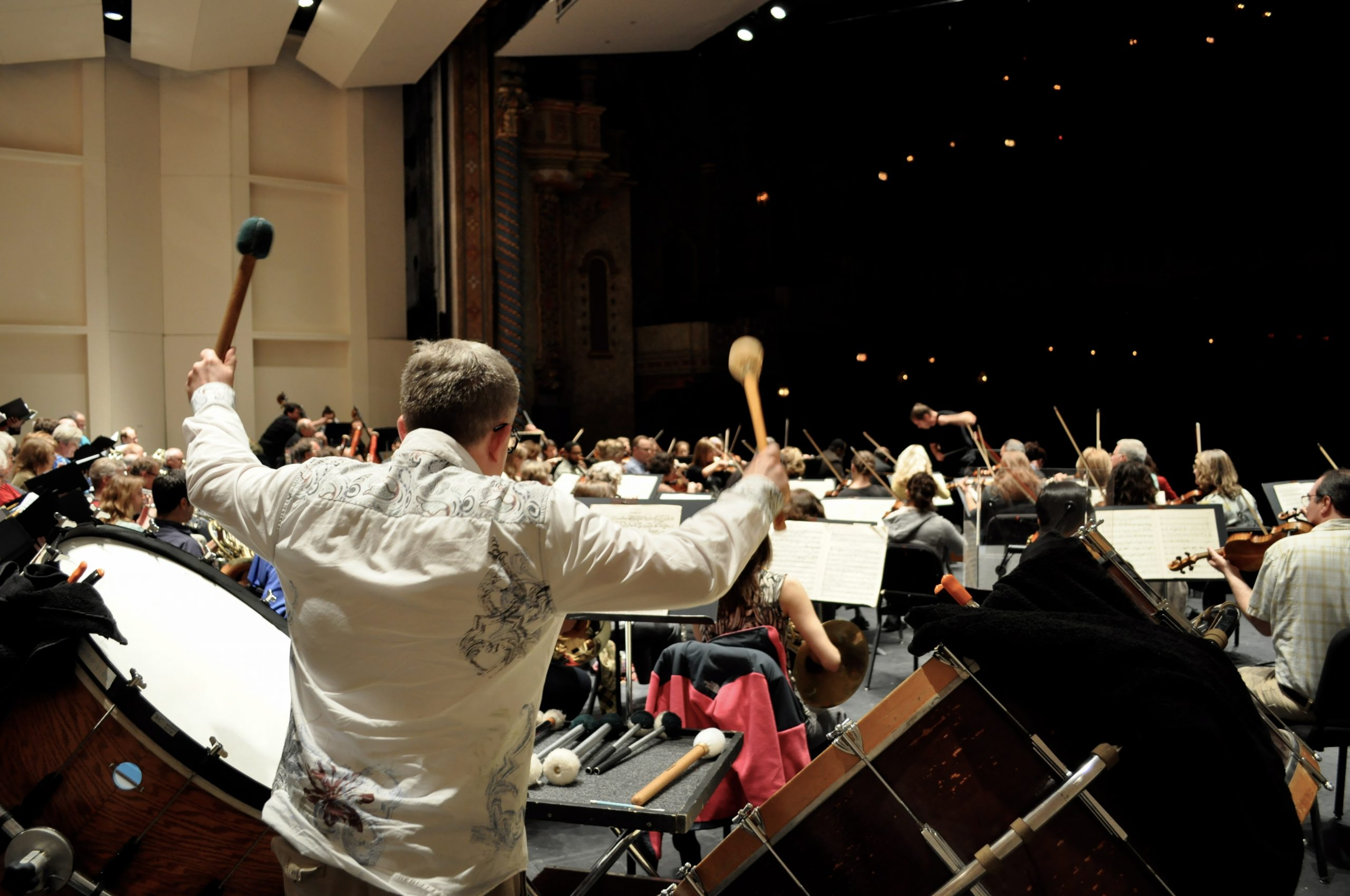 """The visual performance of Verdi's """"Requiem"""" will prove to be almost as stunning as the audio. More than 30 bows punctuate rhythm, and the bass drummer carries the most dramatic moments with elaborate (but controlled) movements. Photo by Iris Dimmick."""