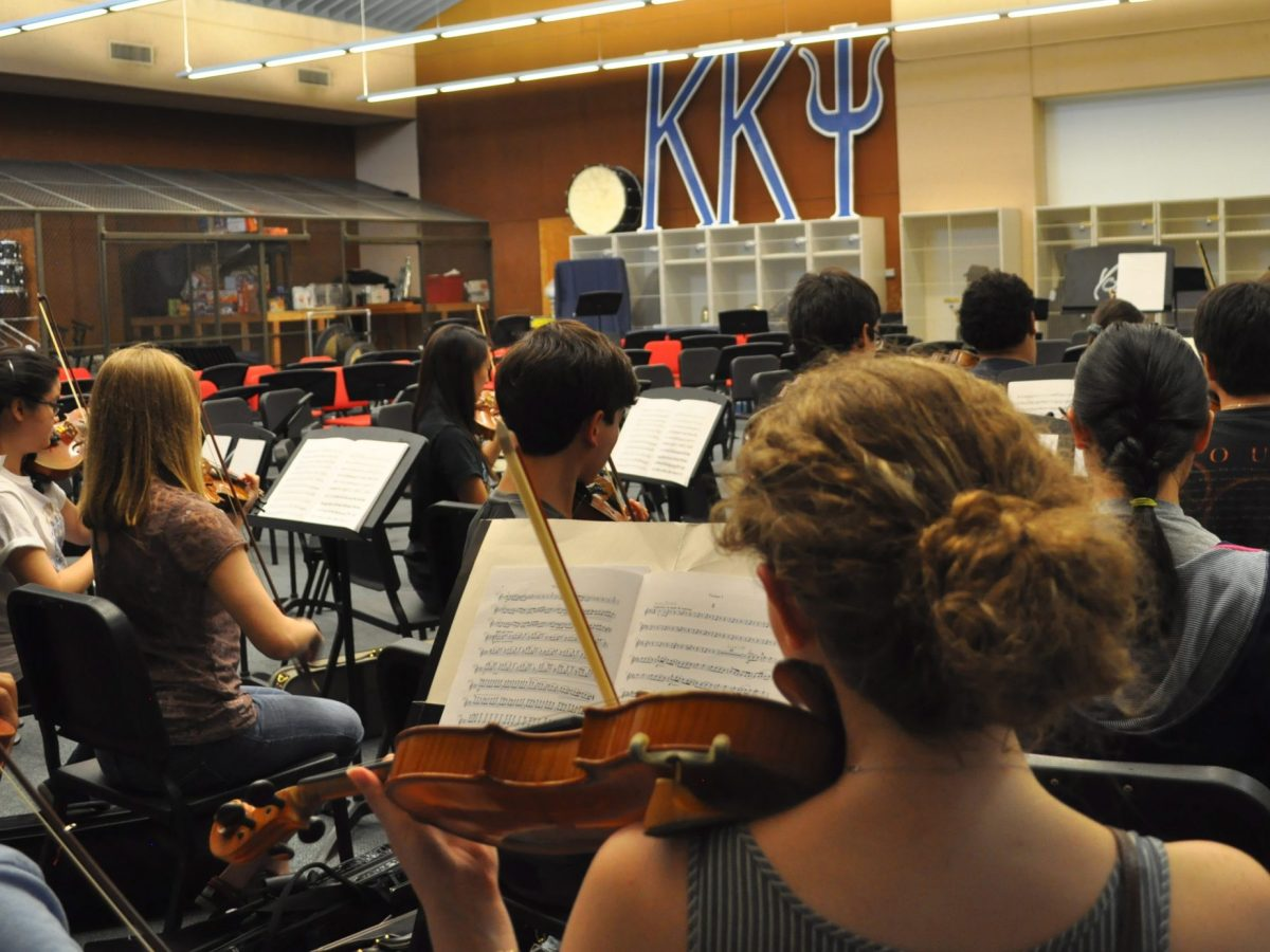 The YOSA violin section rehearses at UTSA's Main Campus music and art building. Photo by Iris Dimmick.